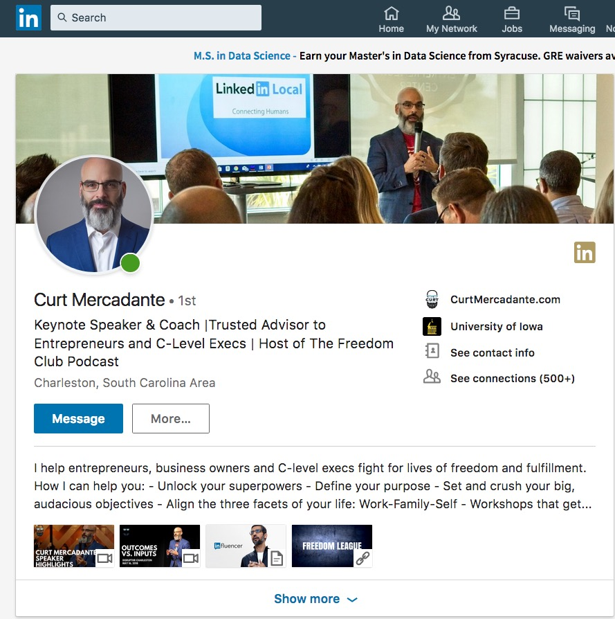 Curt Mercadante LinkedIn Profile. Headshot by DreamLight Images, Charleston SC