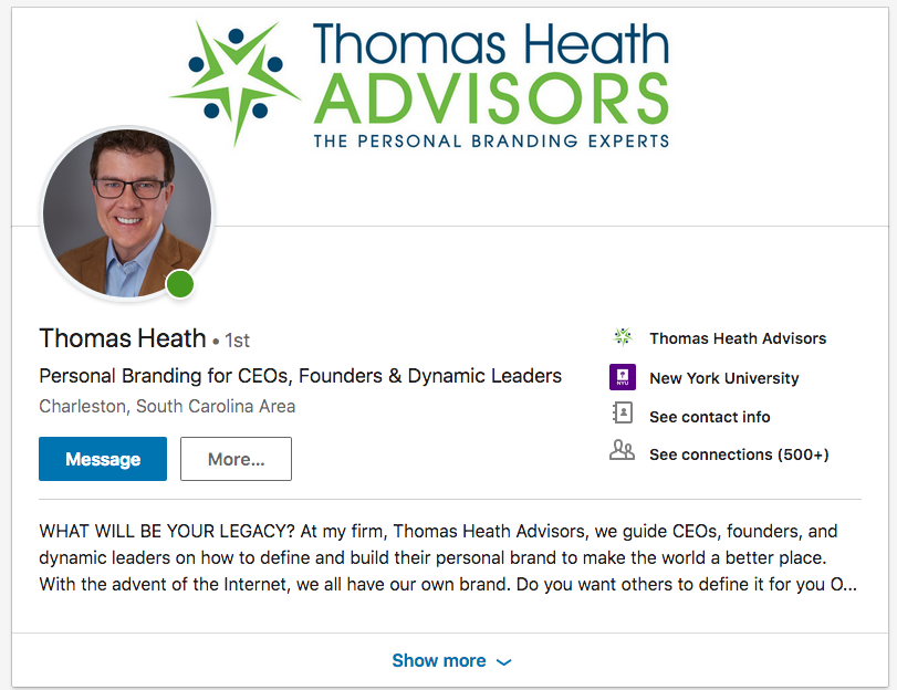 Thomas Heath Advisors on LinkedIn. Headshot by DreamLight Images, Charleston SC
